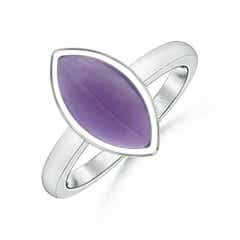 Sugarloaf Cut Marquise Amethyst Solitaire Ring