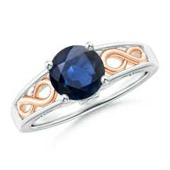 Solitaire Blue Sapphire Infinity Ring in Two Tone