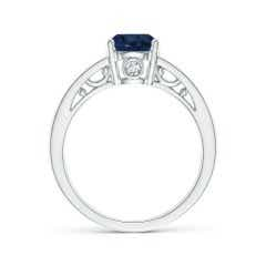 Toggle Solitaire Blue Sapphire Infinity Ring in Two Tone