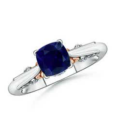 Solitaire Cushion Blue Sapphire Ring in Two Tone