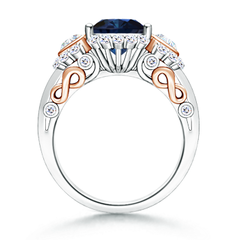 Toggle Three Stone Sapphire and Diamond Halo Ring in Two Tone