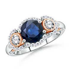 Three Stone Sapphire and Diamond Halo Ring in Two Tone