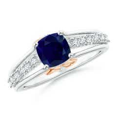 Triple Shank Cushion Cut Sapphire Ring in Two Tone