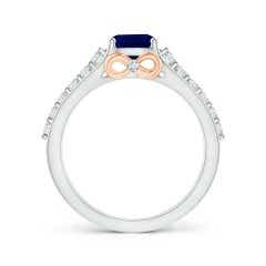 Toggle Triple Shank Cushion Cut Sapphire Ring in Two Tone