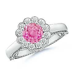 Vintage Inspired Pink Sapphire and Diamond Floral Ring