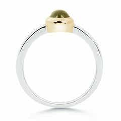 Toggle Bezel Set Cabochon Peridot Promise Ring