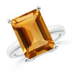Prong-Set Rectangular Citrine Cocktail Ring