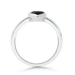 Toggle Bezel-Set Pear Black Onyx Solitaire Ring