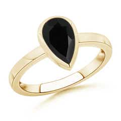 Bezel-Set Pear Black Onyx Solitaire Ring