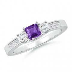 Square Amethyst and Princess Diamond Three Stone Ring