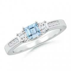 Square Aquamarine and Princess Diamond Three Stone Ring