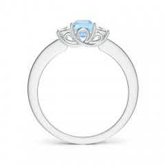 Toggle Square Aquamarine and Princess Diamond Three Stone Ring