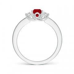 Toggle Square Ruby and Princess Diamond Three Stone Ring