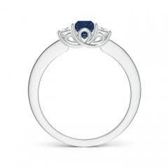 Toggle Square Sapphire and Princess Diamond Three Stone Ring