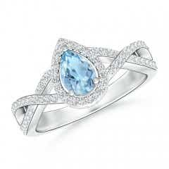 Twist Shank Pear Aquamarine Ring with Diamond Halo