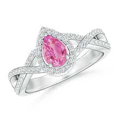 Twist Shank Pear Pink Sapphire Ring with Diamond Halo