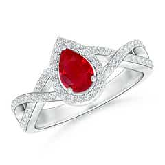 Twist Shank Pear Shaped Ruby Ring with Diamond Halo