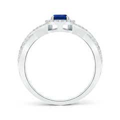 Toggle Twist Shank Pear Blue Sapphire Ring with Diamond Halo