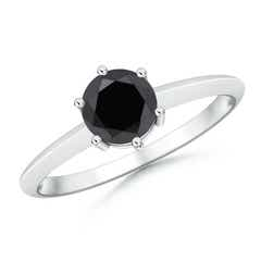6 Prong Round Enhanced Black Diamond Solitaire Engagement Ring