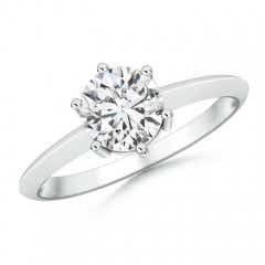 6 Prong Round Diamond Solitaire Engagement Ring