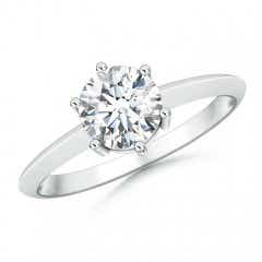 Prong-Set Moissanite Solitaire Engagement Ring