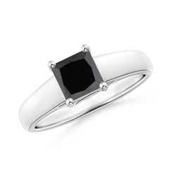 Princess Cut Enhanced Black Diamond Solitaire Engagement Ring