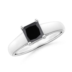 Princess-Cut Enhanced Black Diamond Solitaire Engagement Ring