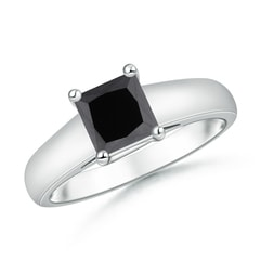 Princess Cut Enhanced Black Diamond Solitaire Engagement Ring