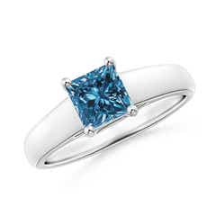 Princess-Cut Enhanced Blue Diamond Solitaire Engagement Ring