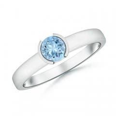 Classic Solitaire Half Bezel Aquamarine Engagement Ring