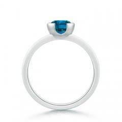 Classic Solitaire Half Bezel Enhanced Blue Diamond Ring