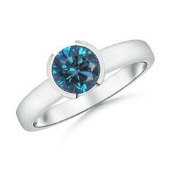Semi Bezel-Set Enhanced Blue Diamond Engagement Ring