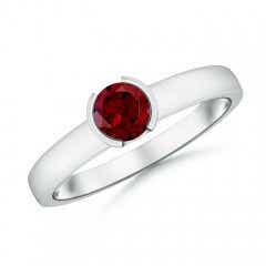 Semi Bezel-Set Garnet Solitaire Engagement Ring