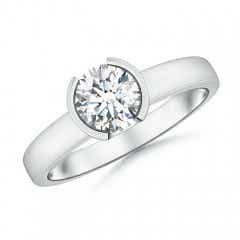 Semi Bezel-Set Moissanite Solitaire Engagement Ring
