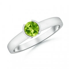 Semi Bezel-Set Peridot Solitaire Engagement Ring