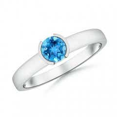 Semi Bezel-Set Swiss Blue Topaz Solitaire Engagement Ring
