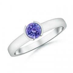 Semi Bezel-Set Tanzanite Solitaire Engagement Ring