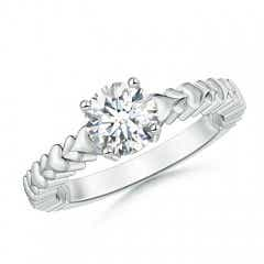Round Moissanite Solitaire Ring with Heart Carving