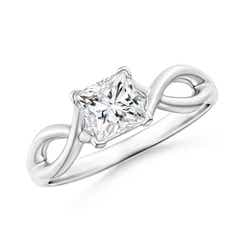 Princess-Cut Solitaire Diamond Crossover Ring