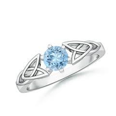 Solitaire Round Aquamarine Celtic Knot Ring