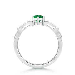 Toggle Solitaire Round Emerald Celtic Knot Ring