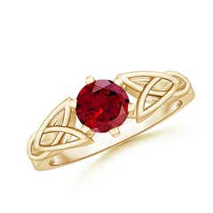 Solitaire Round Garnet Celtic Knot Ring