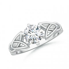 Solitaire Round Moissanite Celtic Knot Ring
