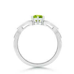 Toggle Solitaire Round Peridot Celtic Knot Ring