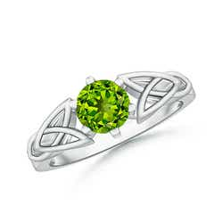 Solitaire Round Peridot Celtic Knot Ring