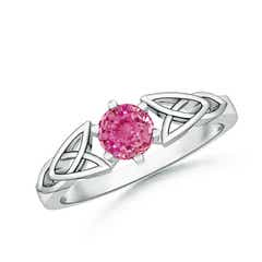 Solitaire Round Pink Sapphire Celtic Knot Ring