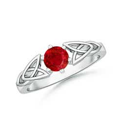 Solitaire Round Ruby Celtic Knot Ring