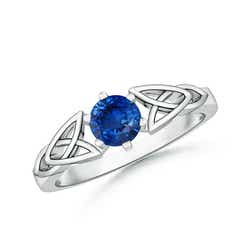 Solitaire Round Sapphire Celtic Knot Ring