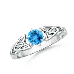 Solitaire Round Swiss Blue Topaz Celtic Knot Ring