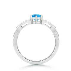 Toggle Solitaire Round Swiss Blue Topaz Celtic Knot Ring